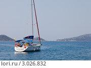 Купить «Яхта в море», фото № 3026832, снято 19 августа 2018 г. (c) Иван Демьянов / Фотобанк Лори