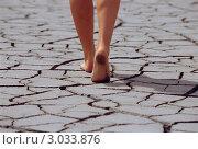 Купить «Женщина идет по сухой земле с трещинами», фото № 3033876, снято 16 июня 2019 г. (c) Monkey Business Images / Фотобанк Лори