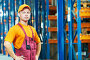 Складской рабочий в оранжевой бейсболке, фото № 3034444, снято 26 мая 2017 г. (c) Дмитрий Калиновский / Фотобанк Лори