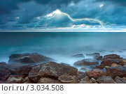 Купить «Гроза над синим морем», фото № 3034508, снято 29 мая 2020 г. (c) Sea Wave / Фотобанк Лори