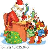 Купить «Векторная иллюстрация с Дедом Морозом, пишущим письмо», иллюстрация № 3035040 (c) Vasiliev Sergey / Фотобанк Лори