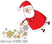 Купить «Санта Клаус разбрасывает снежинки», иллюстрация № 3035124 (c) Евгения Малахова / Фотобанк Лори