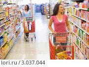 Купить «Две женщины с продуктовыми тележками в супермаркете», фото № 3037044, снято 29 июня 2007 г. (c) Monkey Business Images / Фотобанк Лори