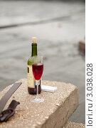 Бутылка с бокалом. Стоковое фото, фотограф Кораблева Надежда / Фотобанк Лори