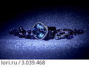 Купить «Ювелирные изделия - кольцо и драгоценные камни в магическом синем цвете», фото № 3039468, снято 18 мая 2011 г. (c) ElenArt / Фотобанк Лори