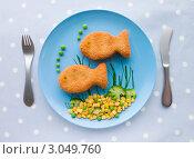 Купить «Детское блюдо из рыбного филе в панировке с овощами», фото № 3049760, снято 13 ноября 2007 г. (c) Monkey Business Images / Фотобанк Лори
