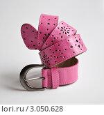 Купить «Женский розовый ремень на белом фоне», фото № 3050628, снято 12 декабря 2011 г. (c) Елена Шуршилина / Фотобанк Лори