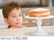 Маленький мальчик смотрит на торт и облизывается. Стоковое фото, фотограф Monkey Business Images / Фотобанк Лори