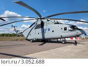 Купить «Крупнейший в мире многоцелевой транспортный вертолёт Ми-26Т2 на экспозиции авиасалона МАКС-2011, Россия», фото № 3052688, снято 19 августа 2011 г. (c) Николай Винокуров / Фотобанк Лори