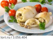 Купить «Кальмар, фаршированный картофелем с грибами», эксклюзивное фото № 3056404, снято 16 декабря 2011 г. (c) Александр Курлович / Фотобанк Лори