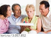 Купить «Женщина задувает свечи на праздничном торте в окружении друзей», фото № 3057852, снято 24 июня 2007 г. (c) Monkey Business Images / Фотобанк Лори