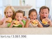 Купить «Семья ест чизбургеры, лежа на диване», фото № 3061996, снято 10 октября 2007 г. (c) Monkey Business Images / Фотобанк Лори