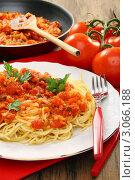 Купить «Спагетти с томатным соусом и зеленью на тарелке», фото № 3066188, снято 18 декабря 2011 г. (c) Марина Сапрунова / Фотобанк Лори