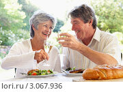 Купить «Мужчина и женщина с бокалами в руках за обедом на свежем воздухе», фото № 3067936, снято 31 января 2006 г. (c) Monkey Business Images / Фотобанк Лори