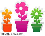 Купить «Три графических цветка в горшках», иллюстрация № 3073604 (c) Марина Львова / Фотобанк Лори