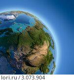 Купить «Планета Земля с высоким рельефом, освещенная солнцем, вид из космоса», иллюстрация № 3073904 (c) Антон Балаж / Фотобанк Лори