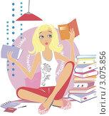 Девочка учится, читает книжки. Сессия. Стоковая иллюстрация, иллюстратор Irina Burtseva / Фотобанк Лори