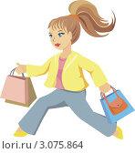 Девушка с пакетами и сумкой бежит за покупками. Стоковая иллюстрация, иллюстратор Irina Burtseva / Фотобанк Лори