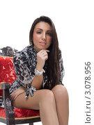 Девушка в кресле. Стоковое фото, фотограф Евгений Липский / Фотобанк Лори