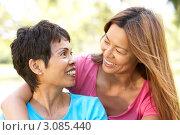 Купить «Улыбающиеся мать и дочь смотрят друг на друга на природе», фото № 3085440, снято 11 августа 2009 г. (c) Monkey Business Images / Фотобанк Лори