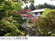 Дом на берегу озера в японском парке (2010 год). Стоковое фото, фотограф Екатерина Ильина / Фотобанк Лори