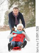 Купить «Позитивные муж с женой катаются на санках», фото № 3091928, снято 12 января 2010 г. (c) Monkey Business Images / Фотобанк Лори