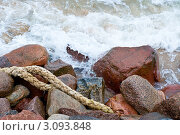 Купить «Морские камни и канат», фото № 3093848, снято 18 июня 2011 г. (c) Михаил Треусов / Фотобанк Лори
