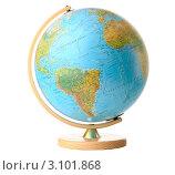 Купить «Глобус на деревянной подставке, изолированно на белом фоне», фото № 3101868, снято 21 апреля 2010 г. (c) Николай Охитин / Фотобанк Лори