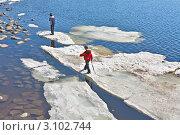 Купить «Дети играют на плавающей льдине», фото № 3102744, снято 24 апреля 2011 г. (c) Владимир Сергеев / Фотобанк Лори