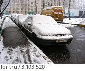 Купить «Заснеженные машины на городской улице», эксклюзивное фото № 3103520, снято 1 января 2012 г. (c) lana1501 / Фотобанк Лори