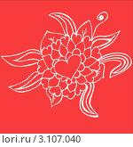 Орнамент из сердец и листьев на красном фоне. Стоковая иллюстрация, иллюстратор Елена Назаркина / Фотобанк Лори
