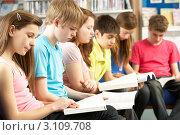 Купить «Группа школьников читает в школьной библиотеке», фото № 3109708, снято 19 февраля 2010 г. (c) Monkey Business Images / Фотобанк Лори