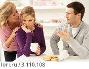 Купить «Расстроенная девушка с кружкой кофе сидит за столом перед тарелкой с печеньем, муж и мать утешают её», фото № 3110108, снято 7 декабря 2010 г. (c) Monkey Business Images / Фотобанк Лори