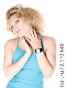 Купить «Молодая чувственная блондинка на белом фоне», фото № 3110648, снято 7 января 2010 г. (c) Сергей Сухоруков / Фотобанк Лори