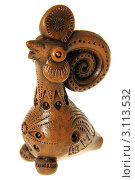 """Западно-украинская глиняная игрушка-свистулька """"Петух"""" Стоковое фото, фотограф Александра Меланич / Фотобанк Лори"""