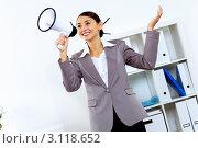 Купить «Молодая деловая девушка с мегафоном в руке», фото № 3118652, снято 6 декабря 2019 г. (c) Sergey Nivens / Фотобанк Лори
