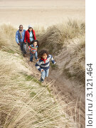 Купить «Молодая чернокожая семья с детьми прогуливается в песчаных дюнах около моря», фото № 3121464, снято 1 сентября 2000 г. (c) Monkey Business Images / Фотобанк Лори
