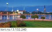 Панорама Старой Риги и берег Даугавы. Рига, Латвия (2008 год). Стоковое фото, фотограф Jelena Dautova / Фотобанк Лори