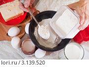 Купить «Замешивание теста: женские руки засыпают муку», фото № 3139520, снято 30 января 2011 г. (c) Яков Филимонов / Фотобанк Лори