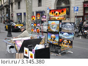 Уличный художник. Испания.Барселона. Редакционное фото, фотограф Ирина Батюта / Фотобанк Лори