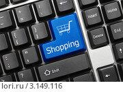 Купить «Концептуальная клавиатура - клавиша Shopping», фото № 3149116, снято 30 сентября 2011 г. (c) Самохвалов Артем / Фотобанк Лори