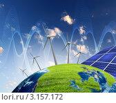 Купить «Коллаж с ветряными электростанциями и солнечными батареями», иллюстрация № 3157172 (c) Sergey Nivens / Фотобанк Лори