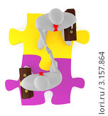 Купить «Два человечка совершают рукопожатие на фоне разноцветных пазлов, вид сверху», иллюстрация № 3157864 (c) Данила Большаков / Фотобанк Лори