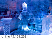 Купить «Ледяная комната в тереме Снегурочки, ледяная сказка», фото № 3159252, снято 17 января 2012 г. (c) ElenArt / Фотобанк Лори