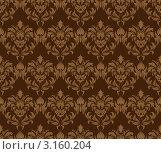 Купить «Бесшовный фон в темно-коричневых тонах с растительным орнаментом», иллюстрация № 3160204 (c) Павел Коновалов / Фотобанк Лори