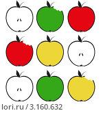 Разноцветные нарисованные яблоки. Стоковая иллюстрация, иллюстратор Тамара Григолава / Фотобанк Лори