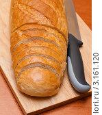 Купить «Батон белого хлеба и нож на разделочной доске», эксклюзивное фото № 3161120, снято 31 декабря 2011 г. (c) Игорь Низов / Фотобанк Лори