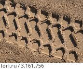 Купить «След автомобильного колеса на влажном песке», фото № 3161756, снято 24 декабря 2011 г. (c) Сергей Бойков / Фотобанк Лори