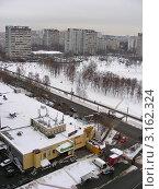 Купить «Москва. Район Гольяново. Вид сверху на Уссурийскую улицу», эксклюзивное фото № 3162324, снято 25 декабря 2011 г. (c) lana1501 / Фотобанк Лори