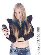 Портрет готической блондинки с мобильным телефоном. Стоковое фото, фотограф Евгений Липский / Фотобанк Лори